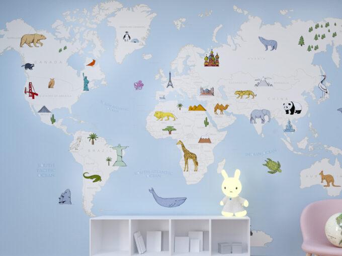 Mural o papel pintado infantil Monumentos del Mundo